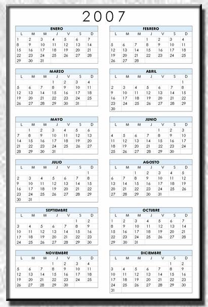 2007 calendario: